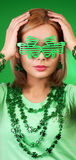 St Patrick's day Girl. Blonde woman royalty free stock photo