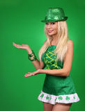 St Patrick's day Girl. Cheerful beautiful blonde young woman Royalty Free Stock Photo