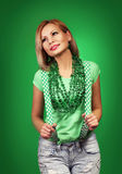 St Patrick's day Girl. Happy young woman Stock Photos