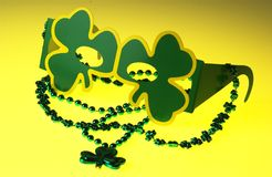 St. Patrick's day glasses and necklace Stock Image