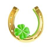 St. Patrick's day gold horseshoe. On a white background Royalty Free Stock Image