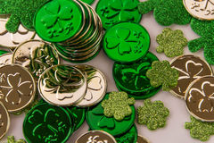 St Patrick's Day gold and shamrocks. Saint Patrick's Day green decorations - gold and shamrocks Stock Photography