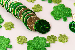 St Patrick's Day gold and shamrocks stock images