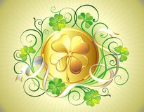 St. Patrick's Day golden coin Royalty Free Stock Images