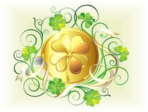 St. Patrick's Day golden coin Royalty Free Stock Photo