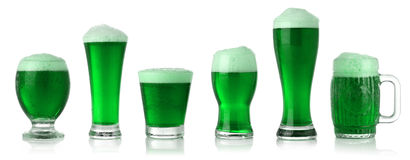 St. Patrick's Day green beer. Different glasses of St. Patrick's Day green beer Royalty Free Stock Images