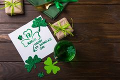Free St. Patrick`s Day Green Beer Pint Over Dark Green Background, Decorated With Shamrock Leaves. Patrick Day Pub Party, Celebrating Royalty Free Stock Photos - 168635218