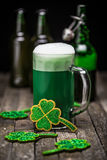 St Patrick's Day. Green beer with shamrock Stock Photography