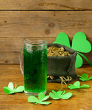 St Patrick's Day green beer with shamrock Stock Photo