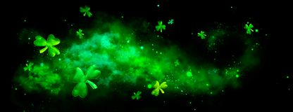 St. Patrick`s Day green blurred background with shamrock leaves. Patrick Day. Abstract border art design. Magic clover nature backdrop stock image