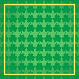 St.Patrick`s day green background, 17 March Lucky Day vector. St.Patrick`s day green clover with golden frame, 17 March Lucky Day vector background illustration Royalty Free Stock Photography