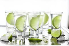 St.Patrick`s Day. Green cocktail in the bar. Luxury cocktail with tequila and lime. Closeup Stock Images