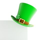 St. Patrick's day green hat on blank page. White background Stock Images