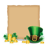 St. Patrick's Day green leprechaun hat with clover and gold Royalty Free Stock Photography