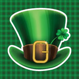 St. Patrick's Day green leprechaun hat with clover Royalty Free Stock Photos