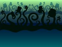 St.Patrick `s Day. Green monsters are celebrating. Tentacles. Disco. Background stock illustration