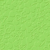 St. Patrick's day green seamless pattern with shamrock. Vector illustration. Stock Photos