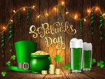 St. Patrick`s Day. Greeting card with a St. Patrick`s Day Stock Photos