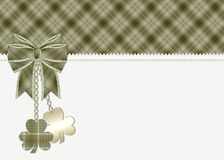 St. Patrick's Day Greeting Card. This is designed with a beautifully green plaid topper and ribbon like border. Then topped with a matching green ribbon and stock illustration