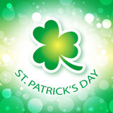 St. Patrick's Day Greeting Card. On abstract green background Royalty Free Stock Images