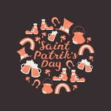 Happy St. Patrick`s Day. Round Composition with Hand Lettering and Doodle Elements. Stock Images
