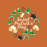 Happy St. Patrick`s Day. Round Composition with Hand Lettering. Stock Photos