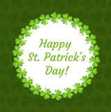 St. Patrick`s Day greeting card, invitation, poster, flyer. Template for your design with clover, shamrock. Vector Stock Image