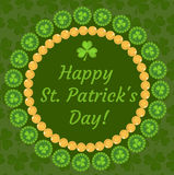 St. Patrick`s Day greeting card, invitation, poster, flyer. Template for your design with clover, shamrock. Vector Stock Photography
