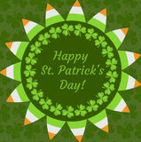 St. Patrick`s Day greeting card, invitation, poster, flyer. Template for your design with clover, shamrock. Vector Royalty Free Stock Images
