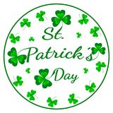 St. Patrick`s Day greeting card. Vector illustration with clover on white. stock illustration