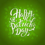 St. Patrick`s Day greeting card vintage lettering. Poster vector background illustration. Royalty Free Stock Photo