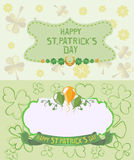 St. Patrick`s Day Greeting cards in pastel colors Stock Photography