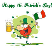 St Patrick's Day Greeting Of A Drunk Leprechuan. Happy St Patrick's Day Greeting Of A Drunk Leprechuan Dancing With Beer And A Flag royalty free illustration