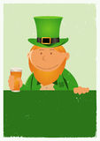 St. Patrick's Day Grunge Poster. Illustration of a cartoon St-Patrick character for the irish national holidays. Cheers Stock Photo
