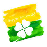 St. Patrick's Day Hand Made Watercolor Background or Card. Stock Photography