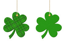 St. Patrick's day hanging clovers (shamrock). Vector illustration. Royalty Free Stock Photography