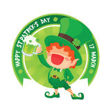 St. Patrick`s Day Happy Leprechaun Holding Beer. Royalty Free Stock Image