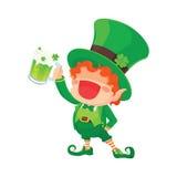 St. Patrick`s Day Happy Leprechaun Holding Beer. Stock Photo