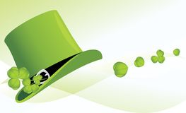 St. Patrick's Day hat with clover. Festive banner Stock Photos
