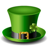St Patricks day hat with clover. Green St Patricks day hat with gold buckle clover Stock Image