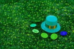St Patrick's Day hat and coins on grass Stock Photo