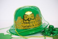 St. Patrick`s Day hat and decor royalty free stock photography