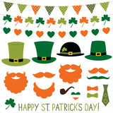 St. Patrick`s Day hats and decoration set. Isolated design elements stock illustration
