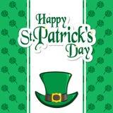 St. Patrick s Day holiday card. Greeting inscription, leprechaun hat, clover quatrefoil. Festive vector illustration Stock Images