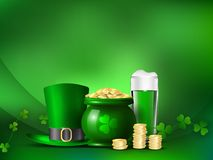 St. Patrick`s Day. Holiday symbols a pot with money and a green hat Stock Images