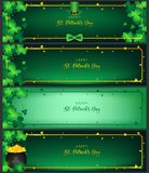 St. Patrick`s Day horizontal handbill of banners. Contain golden border ,shamrock along with border ,dark green background and golden text, free space on the royalty free illustration