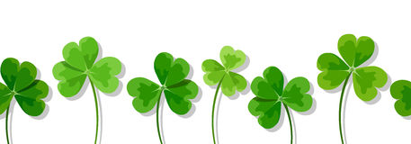 St. Patrick's day horizontal seamless background with clovers (shamrock). Vector illustration. Royalty Free Stock Photo