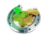 St. Patrick's day horseshoe Leprechaun coins Royalty Free Stock Photography
