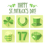St. Patrick's Day icon set in flat design Stock Photos