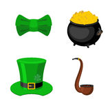 St. Patrick`s Day icon set. Leprechaun accessory. pot of gold and smoking pipes.  Stock Photo